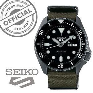 Seiko-5-Sports-Black-Dial-Green-Canvas-Strap-Auto-Men-039-s-Watch-SRPD65K4-RRP-280