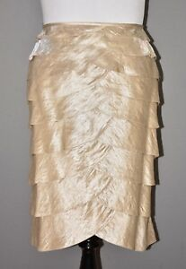 Adrianna-Papell-Evening-Women-039-s-Champagne-Gold-Tiered-Skirt-22W