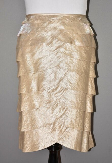 Adrianna Papell Evening Women's Champagne Gold Tiered Skirt 22W
