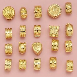 RUBYCA Gold Clips Stopper Clasp Beads For European Charm Bracelet Silicone Rings
