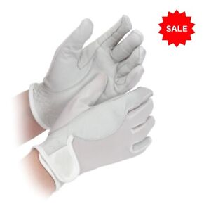 SALE £3.95 Shires Super Cool Riding Gloves Leather /& Mesh White Childs M age 7-8