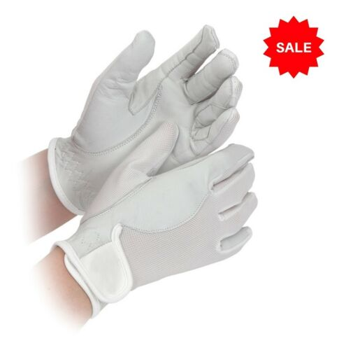 SALE £3.95 Shires Super Cool Riding Gloves Leather /& Mesh White Childs S age 6-7
