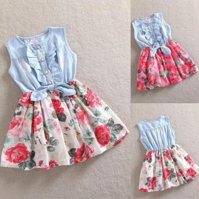 Sweet Baby Girls Kids Flower Dress Denim Vest Tulle Party Skirt Toddler Clothes