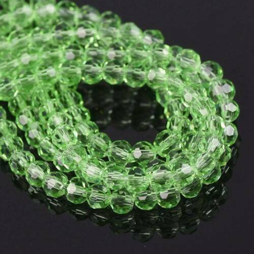 200pcs 3mm Round 32 Facets Crystal Glass Loose Beads Wholesale Light Green