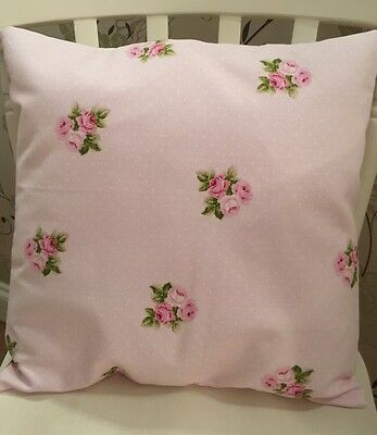 "Fryetts Pink Bouquet Polka Dot Floral Cushion Cover 16"" Shabby Chic💗"