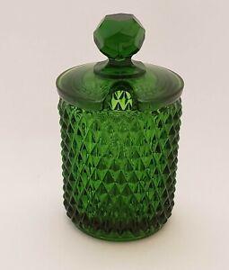 Cambridge-Glass-Covered-Mustard-Jar-Mount-Vernon-Pattern-Forest-Green