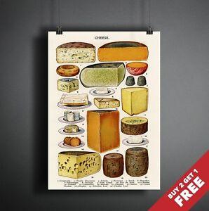 VINTAGE formaggio grafico Poster A3 A4 stampa Decorazione per pub ...