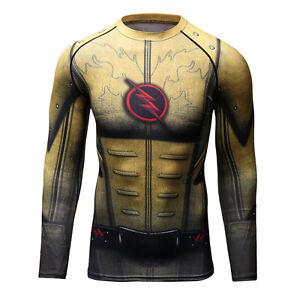 Image is loading Superhero-Flash-Men-Compression-Shirt-Top-Long-Sleeve- 030ab735e56d
