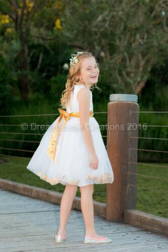 Flower Girl Pageant Wedding Party Dress Flowergirl Birthday Petal Size 1-12 yrs