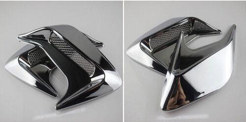 2pcs DIY Car SUV Auto Decorative Side Vent Air Flow Fender Intake Stickers Silve