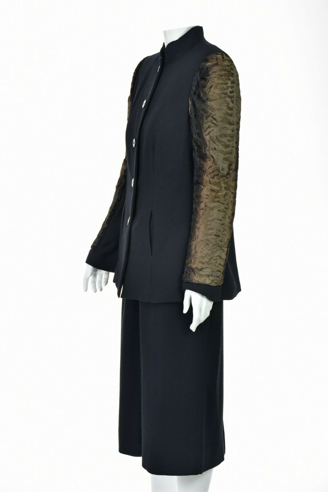 TRAVILLA Vintage Wool Crepe Skirt Suit with Persi… - image 4