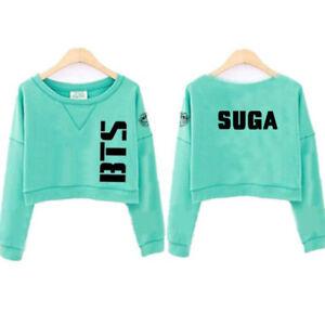 c337d57e4eae5 BTS Women Sweatshirt Jumper Sweater Casual Crop Top Pullover JUNG ...