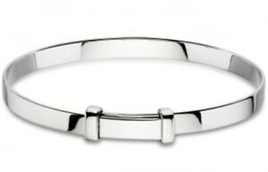 Child-039-s-Baby-039-s-Christening-ID-Bangle-Bracelet-Expandable-Sterling-Silver-SOLID