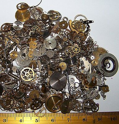 FREE WORLD SHIP Gears Craft Lot 10g Old Steampunk Watch Parts Pieces Cogs Wheels