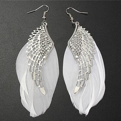 Fashion Angel Wing Feather Dangle Earring Women Chandelier Drop Long Earrings