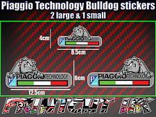 piaggio Technology Bulldog Stickers x3 Decal, Mod, Scooter, zip typhoon vespa