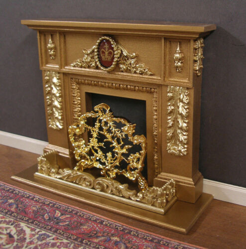 FIREPLACE HEARTH  /&  FENDER  SET ~Jim Coates ~ Dollhouse ~ 1:12 scale ~ Room Box