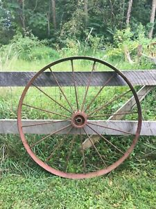 Vtg-Industrial-Primitive-Farm-Country-Cast-Iron-Metal-Wagon-Wheel-Tractor-48in