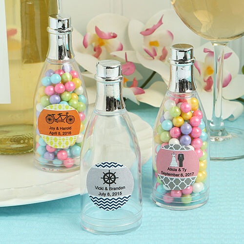 70 Personalized Plastic Champagne Candy Jars Birthday Baby Party Wedding Favors