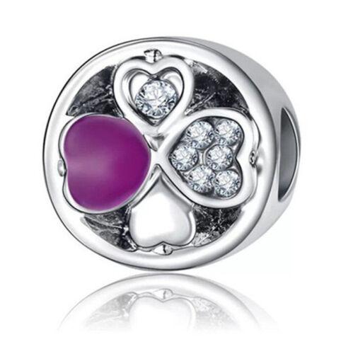 1pcs Argent Zircon Cubique European Charm Beads Fit 925 Collier Bracelet Pendentif Chaîne K076