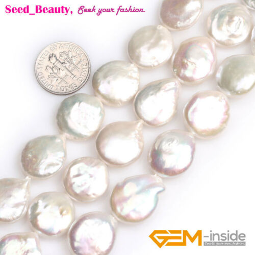 """Assorted Coin Natural Cultured Freshwater Pearl Beads For Jewelry Making DIY 15/"""""""