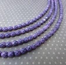 Fire polished czech glass beads 4mm SNAKE LILAC - 38 beads per strand