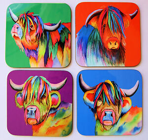 Set-of-four-colourful-HIGHLAND-COW-coasters-by-artist-Maria-Moss
