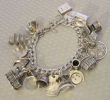 estate vtg all STERLING SILVER CHARM BRACELET loaded World Travel movables