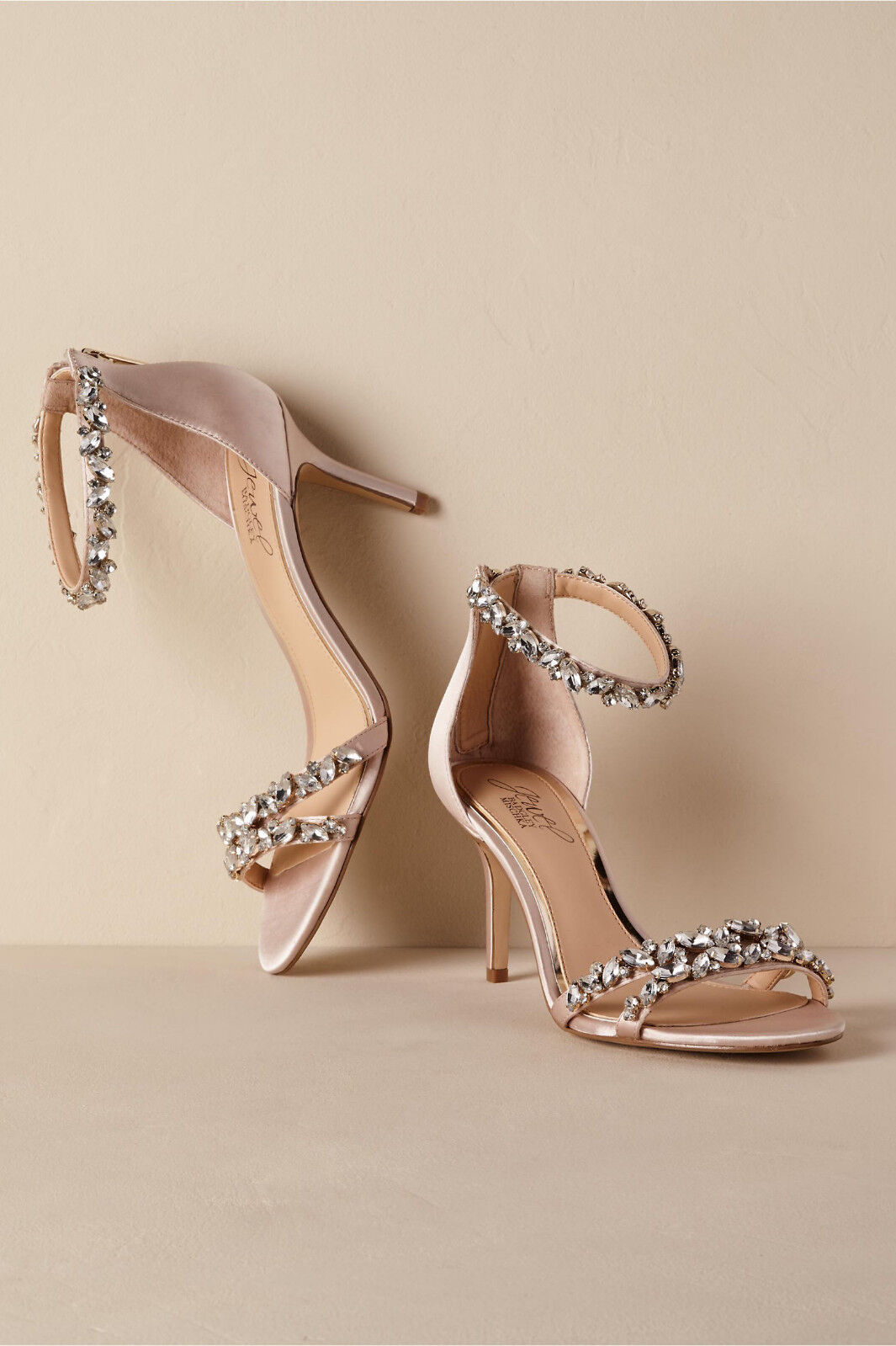 BADGLEY MISCHKA 8.5 SATIN CREAM CREAM CREAM ANKLE STRAP CRYSTALS ZIPPER BACK CAROLINE  110 bf0e8c
