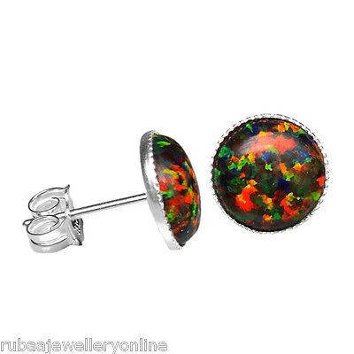 10mm ROUND SYNTHETIC BLACK OPAL CABOCHON 925 STERLING SILVER STUD EARRINGS