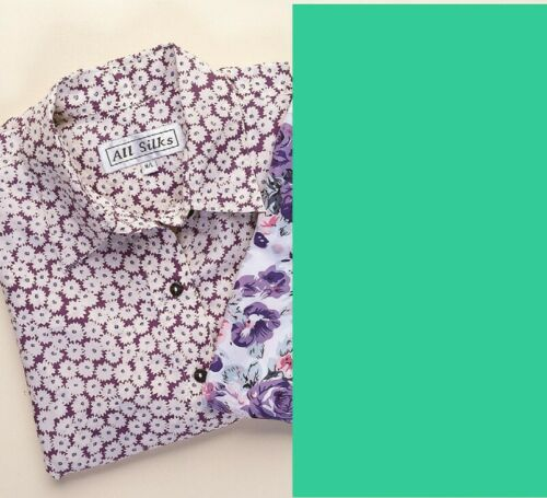 Pure Silk Blouse with Floral Pattern £9.95 beautiful /& sensuous on skin