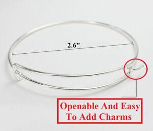 10-Pc-925-Sterling-Silver-Adjustable-Womens-Bracelets-Opens-ToAddCharm-D492B