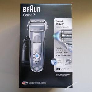 Braun-Series-7-Plata-7898cc-Para-Hombre-Afeitadora-Electrica-Wet-amp-Dry-limpia-y-Carga-NUEVO