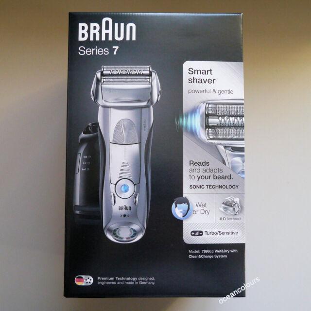 Braun Series 7 Plata 7898cc Para Hombre Afeitadora Eléctrica Wet & Dry, limpia y Carga NUEVO