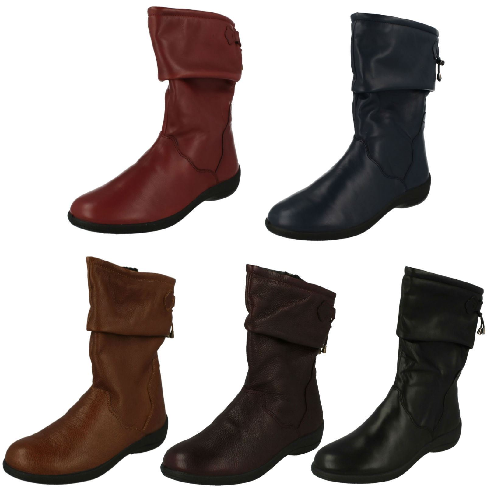 Ladies Padders Casual Calf High Wide Fitting Boots Regan