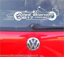 Jules Bianchi Rip F1 Auto Adhesivo Gráfico X1 Cualquier Color!!!