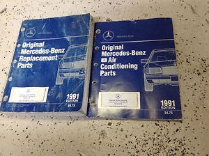 1991-Mercedes-Benz-Repuesto-Piezas-Catalog-Aire-Acondicionador-Manual-Juego-OEM
