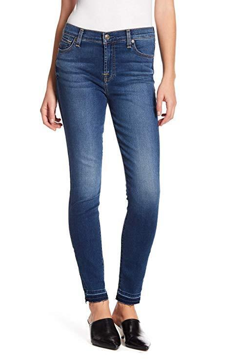 199 NEW 7 For All Mankind Gwenevere High-Waist Skinny Raw Hem Jeans - Size 28