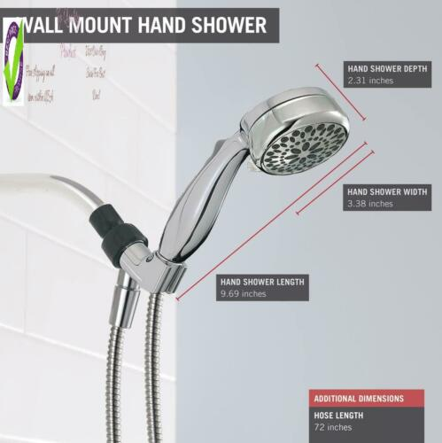 Delta Faucet 7-Spray Touch-Clean Hand Held Shower Head With Hose Chrome 75700