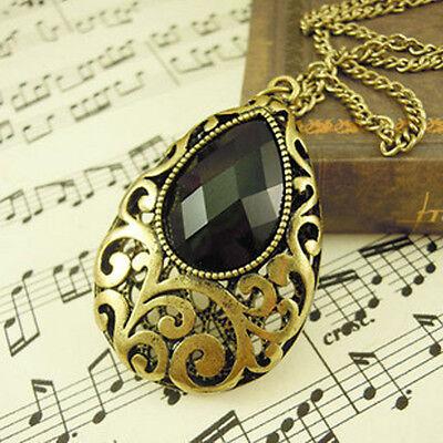 Vintage Tear Drop Black Faceted Acrylic Gemstone Pendant Long Necklace Chain