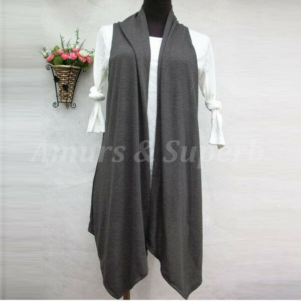 Women Plus Size Coat Jacket Asym Sleeveless Open Draped Cardigan Tank Top Vest