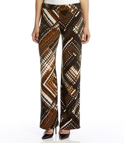 $79 Karen Kane 3L21552 Brown Patchwork Wide Leg Pull-on Stretch Jersey Pants