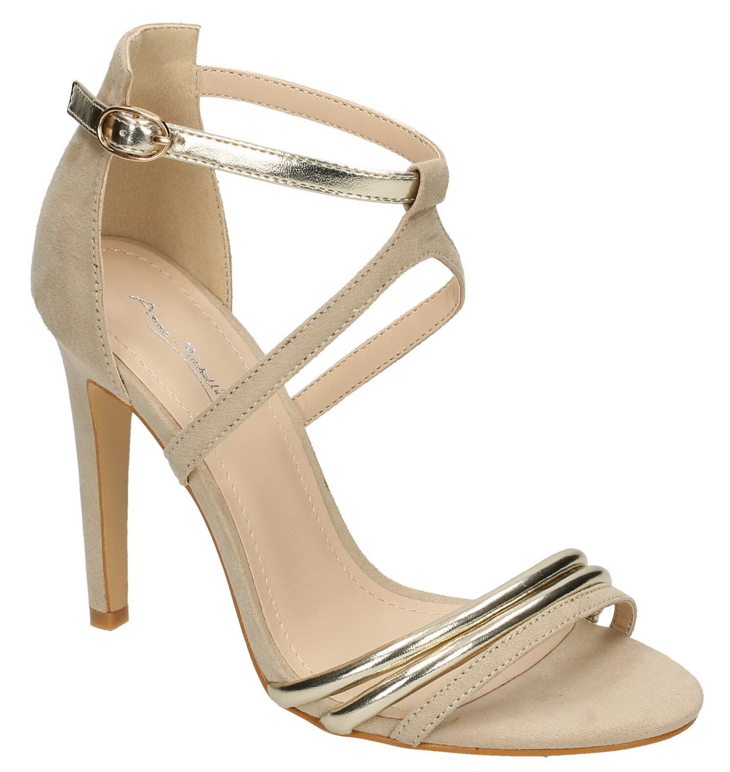 Anne Michelle F10695 Ladies Nude Microfibre Stiletto Heel Evening Sandals