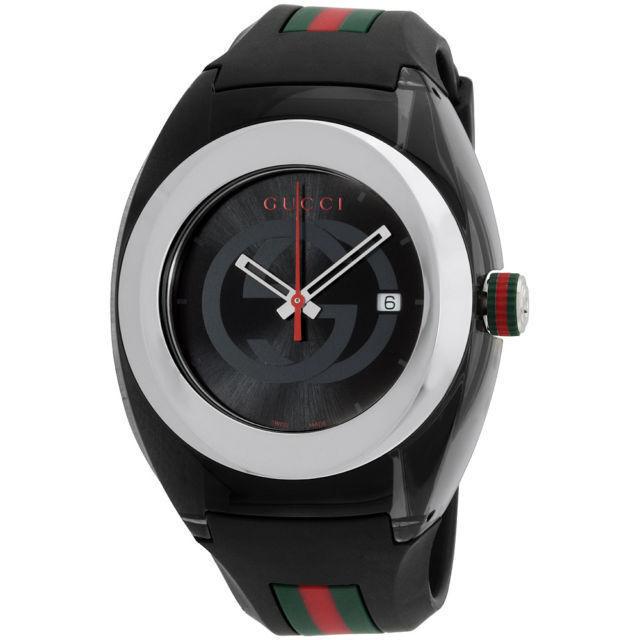 New! Gucci Sync XXL YA137101 Black Rubber Band Black Dial Unisex Watch