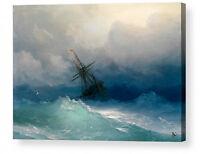 SHIP ON STORMY SEAS IVAN AIVAZOVSKY  CANVAS BOX PRINT A4, A3, A2, A1