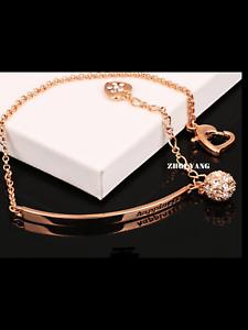 Happiness Rose Gold Crystal Bangle Bracelet Designer Style Rose Gold or Silver
