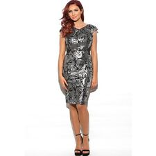AMY CHILDS BLACK/SILVER PRUDENCE BEADED PARTY OCCASION DRESS SIZE UK 10 BNWT