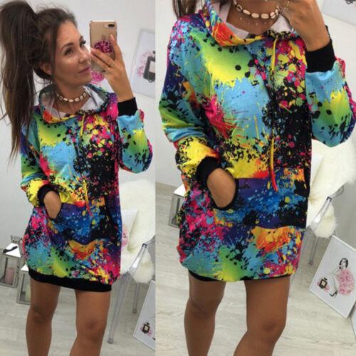 Women Tie dyeing Print Sweatshirt Pullover Hooded Tops Hoodies Coat Outwear NEW