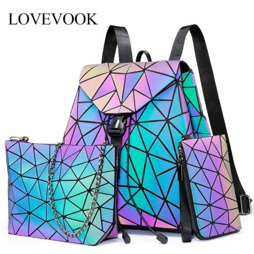 Details about  /Lovevook women backpack geometric luminous bag schoolbag for teenage girl  2020