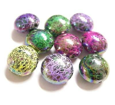 6pc mix color 18x12mm Drawbench Acrylic Flat Round Beads-6162